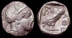 Tetradracma ateniense con la cabeza de Atenea y la lechuza, después de 449 aC
