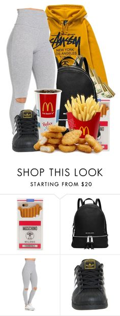 """""""Imma Always Eat"""" by denise-loveable-bray ❤ liked on Polyvore featuring Stussy, Moschino, MICHAEL Michael Kors and adidas"""