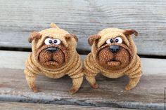 Купить Мопс Венедикт - бежевый, мопс, собака, собака крючком, бульдог, игрушка ручной работы
