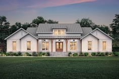 This farmhouse design floor plan is 2589 sq ft and has 3 bedrooms and has 2 bathrooms. Porch House Plans, Basement House Plans, House Plans One Story, New House Plans, Dream House Plans, Story House, Dream Houses, Basement Ideas, Modern Farmhouse Exterior