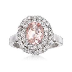 Ross-Simons - 1.70 Carat Morganite and 1.00 ct. t.w. Diamond Ring In 14kt White Gold. Size 7 - #777948