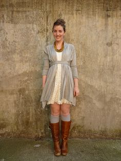 sweet winter into spring look (whatwouldanerdwea. Dress With Cardigan, Long Cardigan, Grey Sweater, Belted Cardigan, Spring Chicken, Mommy Style, Dress Me Up, Dress Long, Long Sweaters
