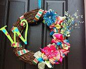 Monogram Spring Wreath - Spring Wreath - Summer Wreath - Monogram Wreath - Mother's Day