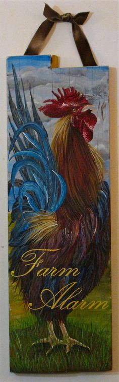 Custom Rooster original acrylic painting on reclaimed rustic solid wood board on Etsy, $400.00