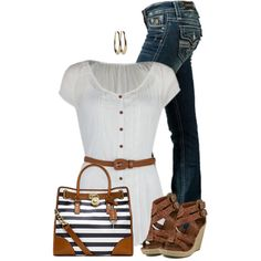 A fashion look from May 2015 featuring short shirts, Rock Revival and platform heel sandals. Browse and shop related looks. Stylish Outfits, Fashion Outfits, Jean Outfits, Fashion Trends, Style And Grace, My Style, Polyvore Outfits, Polyvore Fashion, Spring Outfits