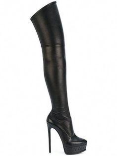 Shop Casadei over-the-knee platform boots. Leather Over The Knee Boots, Leather High Heel Boots, Black Platform Boots, Thigh High Boots Heels, Stiletto Boots, Black Leather Boots, Heeled Boots, Sparkly High Heels, High Heels Stilettos