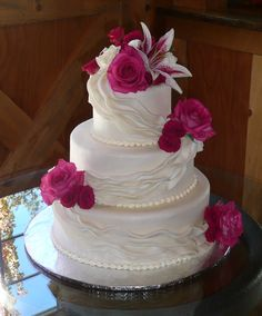 Hot Pink and White Draped Cake