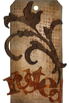 Nitty Gritty - Tim Holtz Creative Chemistry 102 - Day 5 - Emboss - Rusted Tag I think this is one of my favorites Love that rust. http://www.yogiemp.com/NittyGritty/THChemistry102/TH102_Day5_Emboss_RustedTag.html