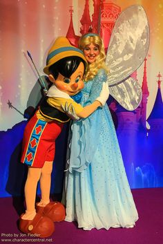 Pinocchio with Blue Fairy!  I've never saw blue fairy or even picture of her before.  I love the costume.