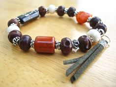 Men's Bracelet with Terracotta Jasper and Hand by tocijewelry