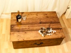 Large rustic country trunk coffee table. Handcrafted/ waxed/ storage. iron handle.