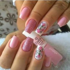 Mesmerizing Pink Nail Designs to Copy In 2020 Manicure Nail Designs, Pink Nail Designs, Best Nail Art Designs, Manicure E Pedicure, Fancy Nail Art, Pretty Nail Art, Fancy Nails, Cute Nails, Pink Nail Colors
