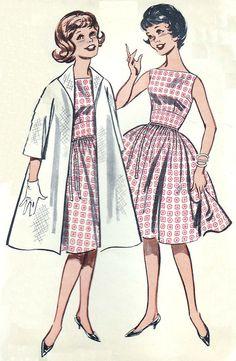 127913e84f 1960s Flared Skirt Dresses Clutch Coat by SewAsItWasPatterns 1960s Fashion