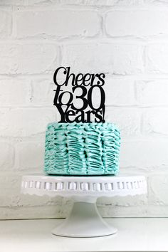 Cheers to 30 Years 30th Anniversary or Birthday Cake Topper or Sign
