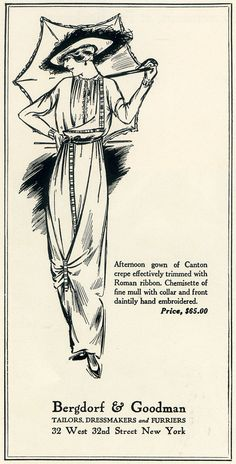1914 - Advertisement in Vogue Magazine. Edwin Goodman is the first couturier to introduce ready-to-wear, changing the way American women dress. #TurnofStyle