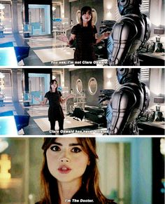 From the Death in Heaven episode.  Clara holding her own in a very bad situation.--- that was a really smart idea