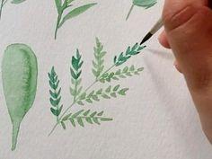 Learn Watercolor Painting, Watercolor Beginner, Watercolor Paintings For Beginners, Watercolor Art Lessons, Watercolor Video, Watercolor Leaves, Watercolor Flowers Tutorial, Watercolors, Journal