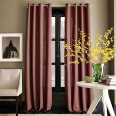Revamp Your Interior with Contemporary Drapes: Modern Linen Mauve Cotton Panels ~ Interior Inspiration