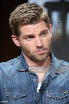 News Photo : Actor Mike Vogel speaks onstage during the Syfy...