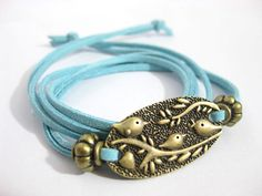 Blue bracelet of three little bird light  leather by Richardwu, $3.90