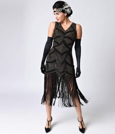 Iconic by UV Black & Antique Gold Beaded Mesh Isadora Fringe Flapper Dress