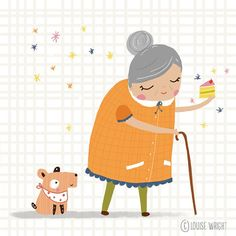 A late daily doodle from me today, here is granny with her sparkle cake  Sparkle Cake, Doodles, Kids Rugs, Instagram Posts, Decor, Decoration, Kid Friendly Rugs, Decorating, Donut Tower