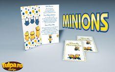 Invitație de botez deosebită cu tema Minionii din celebrul desen animat cu același nume. O invitație de botez simplă cu elemente comice, perfectă pentru acest gen de evenimente.  În preț intră invitația și plicul.  ▧ Materiale folosite:  Carton fotografic – invitație; Carton colorat (galben sau albastru) pentru plic; Minions, Baby Shower, Design, Character, Babyshower, The Minions, Minions Love, Baby Showers