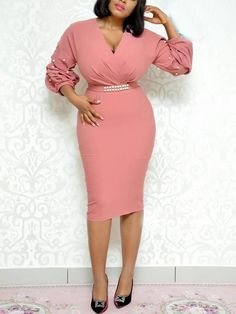 Shop Beading Puff Sleeve Ruched Wrap Bodycon Dress right now, get great deals at Voguelily. African Fashion Dresses, African Dress, Dress Outfits, Fashion Outfits, Womens Fashion, Dress Fashion, Dress Clothes, Fashion 2018, Ladies Fashion
