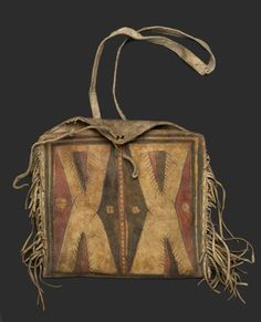 Comanche (Native American). Woman's Fringed Raw Hide Bag with Strap for Carrying, ca. 1900. Hide, pigment, 9 13/16 x 10 5/8 in. (25 x 27 cm). Brooklyn Museum, Brooklyn Museum Collection, X1120. Creative Commons-BY (Photo: Brooklyn Museum, X1120_PS2.jpg)