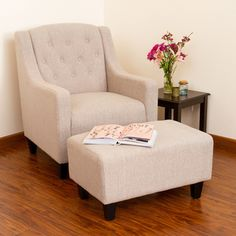 Christopher Knight Home Elaine Light Beige Tufted Fabric Club Chair with Ottoman | Overstock.com Shopping - The Best Deals on Living Room Chairs