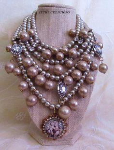 Catholic Virgin Mary, Baby Jesus Cameo Religious Multi-Strand Necklace #HolyMedalPendant http://stores.ebay.com/LETYS-CREATIONS