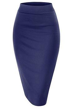 8dc3191c9e Women Elastic Waist Band Stretchy Fabric Pencil Skirt (Small