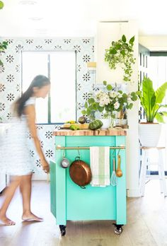 Beautiful easy DIY kitchen island (or kitchen cart on wheels) in modern farmhouse & colorful boho kitchen! Free building plan with IKEA base cabinet hack! – A Piece of Rainbow #farmhouse #kitchen #kitchendesign #kitchenisland #kitchenremodel #DIY #remodel #boho #anthropologie small functional kitchen makeover remodeling, bohemian decor, boho house, colorful farmhouse, remodel, paint colors