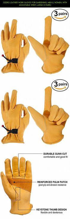 OZERO Leather Work Gloves for Gardening, Men & Women, with Adjustable Wrist, Large (3 Pairs) #parts #rope #camera #products #technology #fpv #shopping #drone #gadgets #racing #gardening #kit #tech #plans