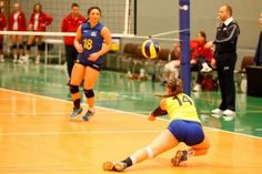 Sweden's libero digs at the qualifier for the 2014 CEV U19 Volleyball European Championship - Women