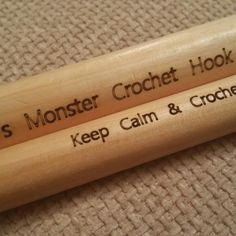 Brand new in store, personalised monster crochet hook. Choose from 20mm or 25mm and personalise with any name or phrase up to 20 characters