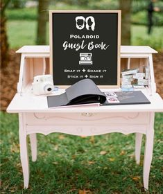 Rustic vintage wedding decor guest book with polaroids Eclectic Jewel-Toned Backyard Wedding Perfect Wedding, Dream Wedding, Wedding Day, Low Key Wedding, Wedding Things, Wedding Book, Wedding Stuff, Polaroid Wedding Guest Book, Laid Back Wedding