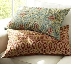 "$39.50 x2 CORINNE EMBROIDERED LUMBAR PILLOW COVER. 16 X 26"" LUMBAR PILLOW COVER   The blue one.. 1 for chair & 1 for loveseat"