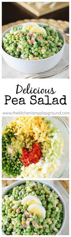 Pea Salad - I did't think I would like it, but it's really good! www.thekitchenismyplayground.com