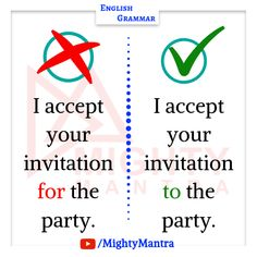 I accept your invitation to the party. English Conversation Learning, English Learning Spoken, Teaching English Grammar, English Writing Skills, English Language Learning, English Sentences, English Idioms, English Phrases, Learn English Words