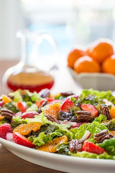 With an easy, sweet, tangy dressing and a topping of caramelized pecans, this delicious, fresh salad will add a splash of pizzazz to any meal.