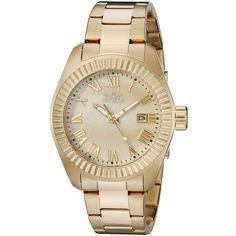 Invicta Angel Analog Display Quartz Gold Watch ($77) ❤ liked on Polyvore featuring jewelry, watches, quartz wrist watch, invicta watches, gold jewellery, gold jewelry and analog watches