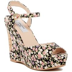Chelsea + Zoe Macbeth Wedge ($30) ❤ liked on Polyvore featuring shoes, sandals, pink floral, pink sandals, wedge heel sandals, floral wedge sandals, floral platform sandals and wedge sandals