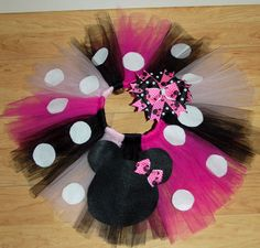 minnie pink, black and white tutu