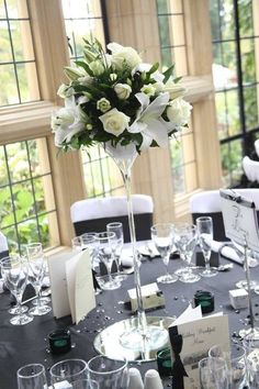 New Art Deco Wedding Decor Centerpieces Ideas Tall Wedding Centerpieces, Wedding Reception Flowers, Wedding Table Centerpieces, Floral Wedding, Wedding Bouquets, Wedding Decorations, Reception Ideas, Trendy Wedding, Elegant Wedding
