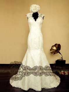 Lace Wedding Dress Features Illusion Deep VCut by LaceMarry - $344