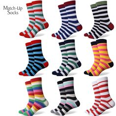 New style colorful Stripes men's combed cotton socks brand man dress knit socks Wedding Gifts Free shipping US size(7.5-12)