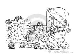 Illustration about Christmas Gifts Boxes Adult Children Coloring Book Black White Sketch Cartoon Children Anti-stress Relaxing Coloring. Illustration of boxes, candle, flying - 133239447 Adult Coloring, Coloring Books, Christmas Gift Box, Anti Stress, Adult Children, Boxes, Sketch, Symbols, Candles