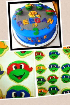 Ninja turtles cake and cookies