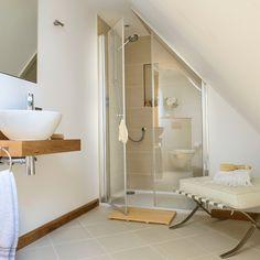 White bathroom with neutral tiles | Bathroom decoration | housetohome.co.uk